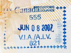 Stempel visum Canada