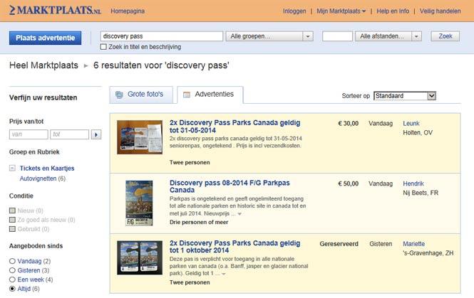 Discovery Pass op Marktplaats.nl