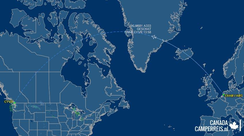 Van Amsterdam naar Vancouver - heenvlucht