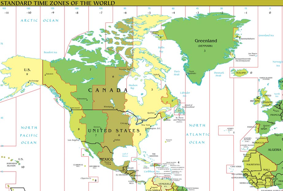 Timezones binnen Canada