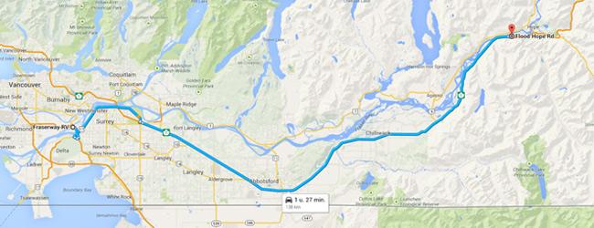 Reisschema dag 2 - Bron: Google Maps