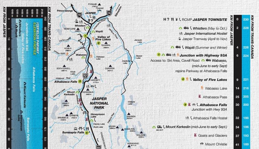 Kaart van The Icefields Parkway