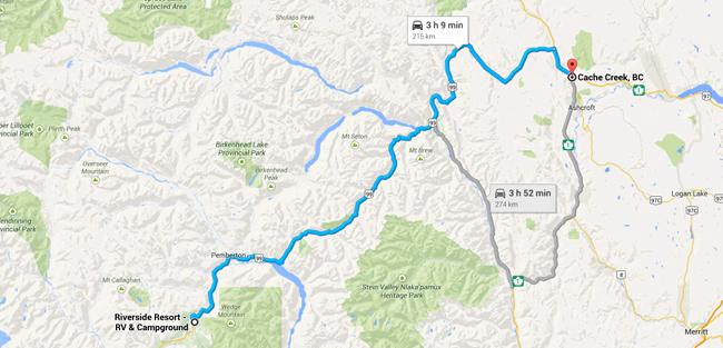 Reisschema dag 14 - (c) Google Maps